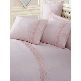 Pudrově růžové povlečení z bavlny s prostěradlem Brode, 200x220 cm
