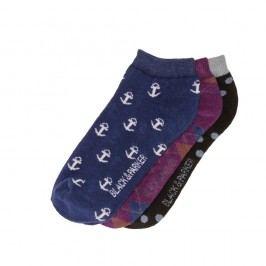 Sada 3 párů kotníkových unisex ponožek Black&Parker London Falls,velikost37/43