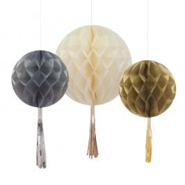Papírové dekorace Honeycomb With Tassels,3 ks