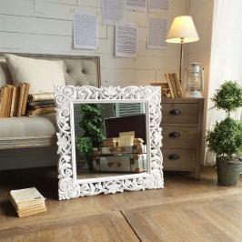 Zrcadlo s rámem z mangového dřeva Orchidea Milano Monza Antique White