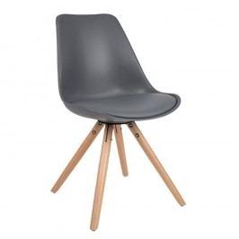 Tmavě šedá židle s bukovým podnožím Tryck