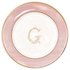 Růžovo-bílý dezertní talíř Green Gate