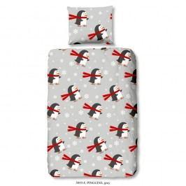 Dětské bavlněné povlečení Good Morning Pinguins, 140 x 200 cm