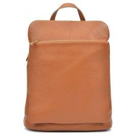 Tmavě koňakově hnědý kožený batoh Isabella Rhea Carrie