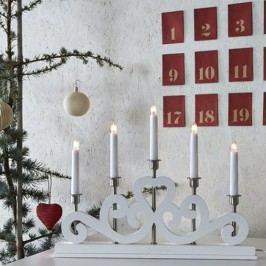 Bílý svítící svícen Markslöjd Eneby, výška 36 cm
