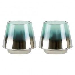 Sada 2 svícnů v zelenostříbrné barvě Villa Collection Gonna