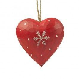 Závěsná dekorace Antic Line Heart with snowflake in red Dekorace