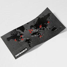 Černá nástěnná mapa světa Palomar Pin World Mini, 77x48cm