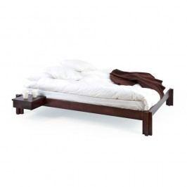 Tmavě hnědá ručně vyráběná postel z masivního březového dřeva Kiteen Mori, 10x200cm