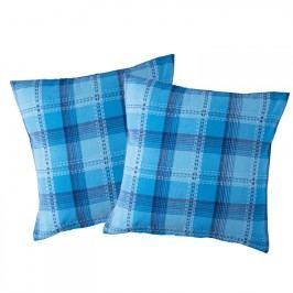 FORBYT Bavlněné povlaky na polštářky Modrá kostka