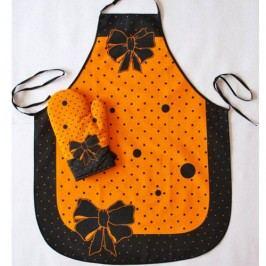 Kuchyňská zástěra s chňapkou oranžová