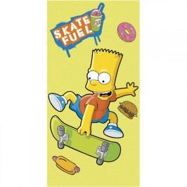 Jerry Fabrics Osuška Bart Simpson skate žlutá bavlna froté 75 x 150 cm
