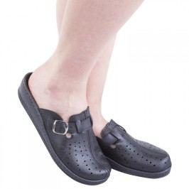 Dámské pantofle s plnou špičkou a přezkou černé vel. 38