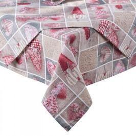 ŠKODÁK BZENEC Ubrus patchwork Srdce červené 140 x 180 cm
