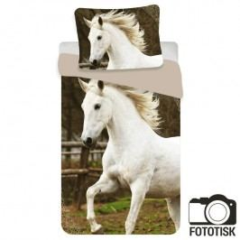 JERRY FABRICS Dětské ložní povlečení Bílý kůň 140 x 200 cm, 70 x 90 cm