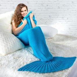 Pletený pléd ve stylu mořské panny modrý