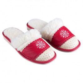Domácí kožené boty s ovčím rounem červené vel. 38