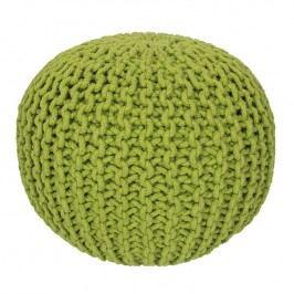 Ručně pletený puf zelený Pletené pufy