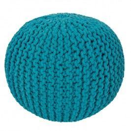 Ručně pletený puf modrý