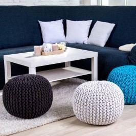 Obrázek Ručně pletený puf modrý Pletené pufy