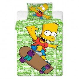 Dětské ložní povlečení Bart na skateboardu 140 x 200 cm, 70 x 90 cm