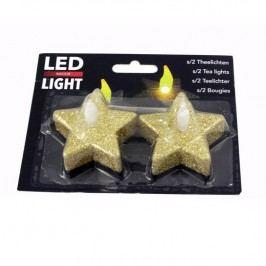 LED čajová svíčka Hvězda zlatá 2 ks